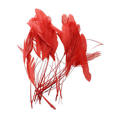30pcs Dyed Rooster Cock Coque Feather 4.3 - 7.5 Inch Red BF