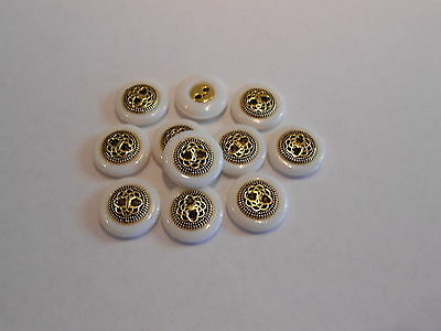 M75 * 24 Gold/bronze & White Plastic Flat Buttons * 12Mm