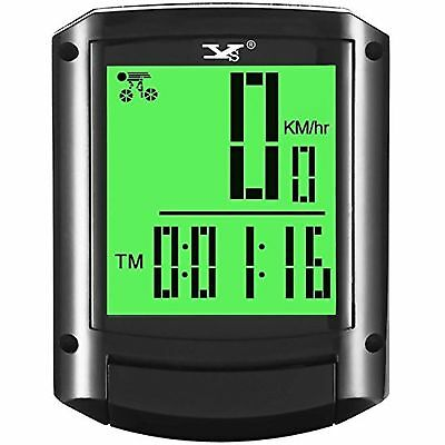Bike Computer Wireless Waterproof Bicycle Speedometer Backlight Large HD LCD ...