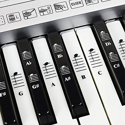 Piano and Keyboard Music Note Full Set Stickers for White and Black Keys with...