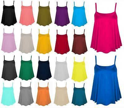 Womens Ladies Plain Cami Swing Vest Sleeveless Strappy Flared Top Plus Size
