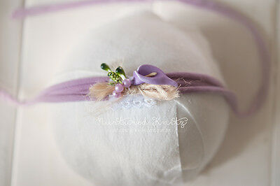 Lilac Purple Floral Stretch Headband-Handmade Newborn / Sitter Photography Prop