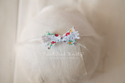 Pretty Floral Mohair Bow Tieback-Handmade Newborn to Sitter Photography Prop