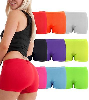 Girls Womens Neon Plain Hot Pants Stretchy Dance Lycra Shorts Party Club Gym