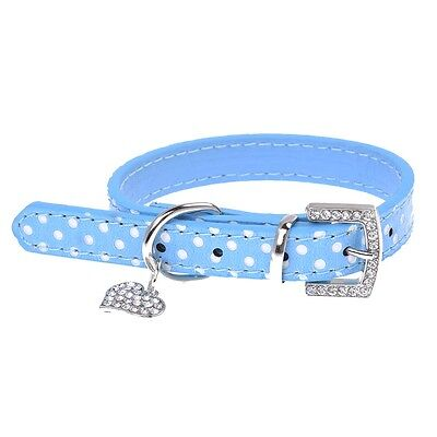 Blue PU Leather Dog Cats Pets Puppy Neck Safety Collars XS BF