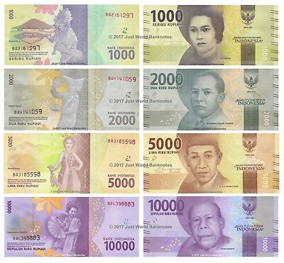 Indonesia 1000 + 2000 + 5000 + 10000 Rupiah 2016 Set of 4 Banknotes 4 PCS UNC