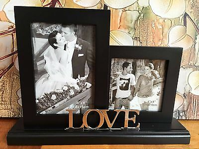 Love Black Timber 2 Photo Frame Home Silver Plated Wedding Engagement Gift
