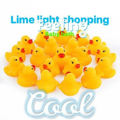 50 -100 yellow bath   Rubber mini Duck Ducks Bath Toy Squeaky Water Play Kids