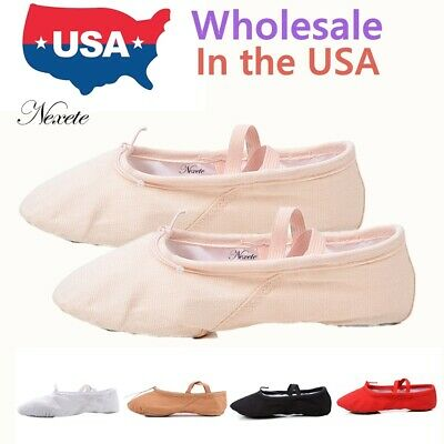 Kids Boy Gir l Ballet Dance Yoga Gymnastics Slipper Canvas Split Sole Shoes