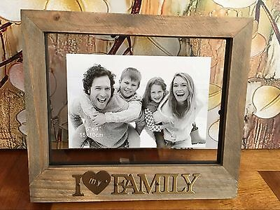 """I Love My Family Wooden Photo Picture Frame 6""""x4"""" Home Office Decor Gift Present"""