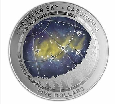 2016 Northern Sky Cassiopeia - $5 coloured silver proof domed coin