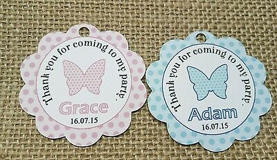 15x Birthday Baptism Christening Gift Favour Scallop Tags Butterfly