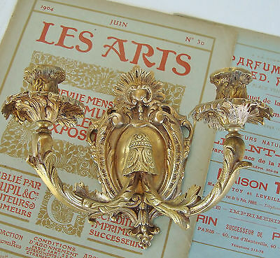 Gorgeous Antique Bronze Candle Sconce Wall Light Candelabra Circa 1900 France