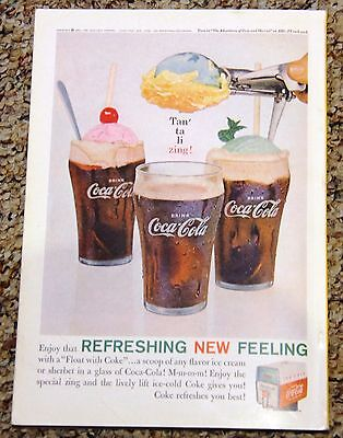 Ice Cream Float Coke Ad 1961 Vintage Coca Cola Wall Decor