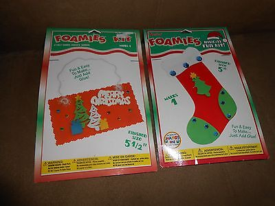 Lot of 2 Darice Foamies Holiday Kits - Stocking and Sign - Brand NEW in Pkg.