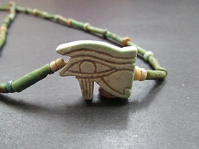 NILE  Ancient Egyptian Eye of Horus Faience Amulet Mummy Bead Necklace ca 600 BC