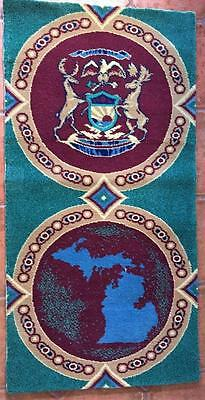 "STATE SEAL OF MICHIGAN / MAP 52"" x 27"" Green Wool Rug Home Office Carpet Wall"