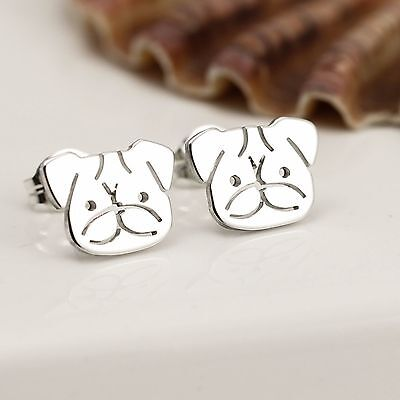 Handmade Sterling Silver Pug Stud Earrings
