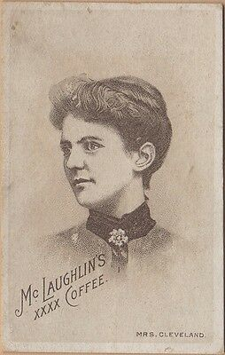 Small Victorian Trade Card-McLaughlin's Coffee-Chicago, IL-Mrs Grover Cleveland