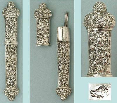 Ornate Antique Silver Floral Needle Case * French Hallmark * Circa 1840s