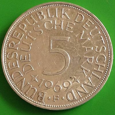 1969 - F Germany Silver 5 Mark Coin