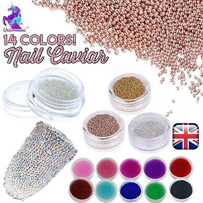 CAVIAR BEADS ROSE GOLD Crystal 3D Micro Ball Pixie Nail Art Decoration Glass UK