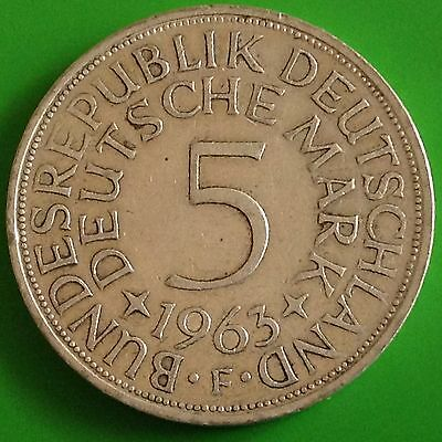 1963 - F  Germany Silver 5 Mark Coin