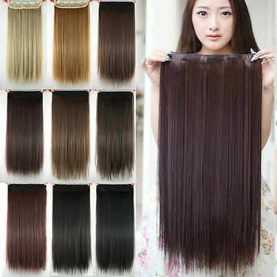 Womens Long Hair Extensions Straight Synthetic Clip in Hair Fake Girl Hair Piece