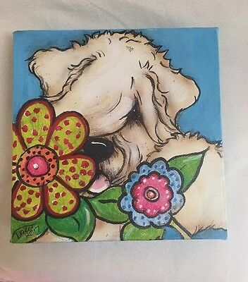 Wheatens  Terrier Hand painted Canvas Original Art By Darci Copy Right 2017