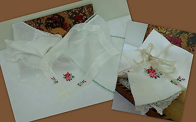 4 x Fine Vintage Antique Handkerchief Wedding Hanky Lace Hand Embroidered Floral