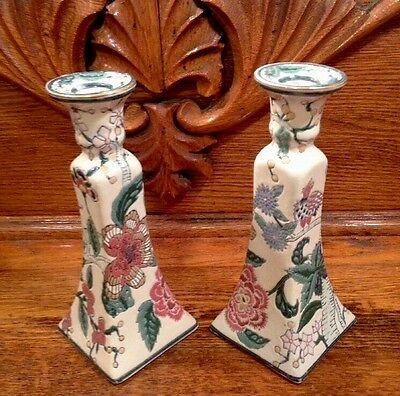 VTG Chinese Candlesticks Porcelain With Floral Design W- Bird China Trader 8""