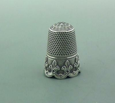 Antique Crystal Topped Solid Silver Thimble German