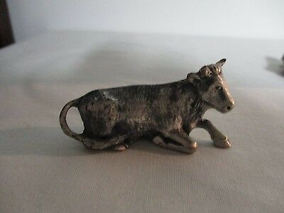 "Jcc Pewter Cow Figurine 2 1/8"" Long"