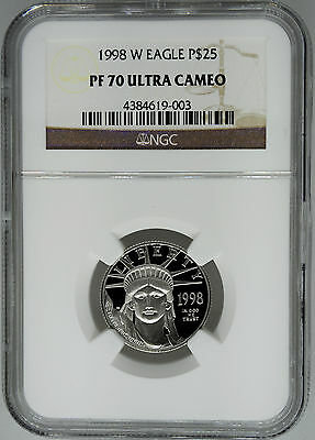 1998-W NGC PF70 1/4 oz Proof Platinum Eagle $25