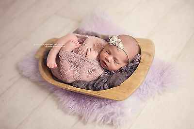 Delicate Light Pinky Peach Lace Stretch Wrap/ Layer-Newborn Photography Prop