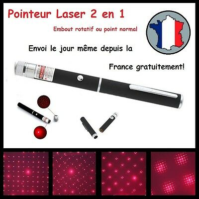 POINTEUR LASER ROUGE 2 en 1 PUISSANT LAZER POINTER RED 1mW STYLO ETOILE STAR
