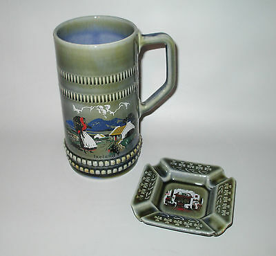 Wade Porcelain Tankard Stein Mug + Ashtray Shamrock Cottage Ireland Blue Green