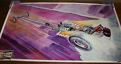 Vintage 1971 Don Garlits Wynn's Charger Rail Dragster 38x22 Poster Don Getz