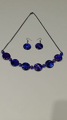 Handmade purple/blue toned necklace and earring set.