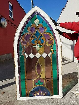 VINTAGE 1880's ARCHED STAINED GLASS CHURCH WINDOW FROM CENTRAL INDIANA