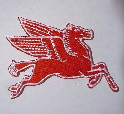 """PEGASUS-MOBIL OIL Embroidered Iron On Uniform-Jacket Patch 3.5"""" Right Facing"""