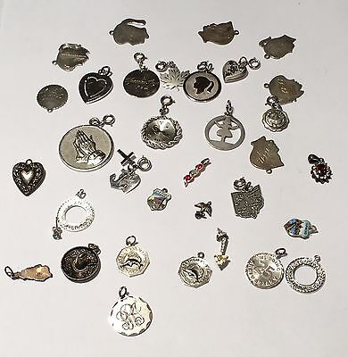Huge Lot Of 36 Pieces Of Sterling Silver Charms, Pendants & More ~ Not Scrap 80g