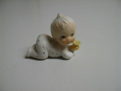 Vintage Baby in Polka Dotted Pajamas Ceramic Bisque Figurine Napcoware Miniature