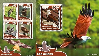 Z08 Imperforated CA16009ab CENTRAL AFRICA 2016 Kites birds MNH Set