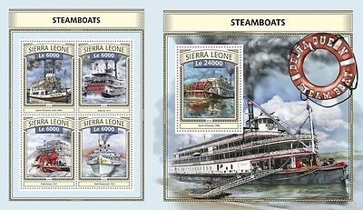 Z08 IMPERFORATED SRL161117ab SIERRA LEONE 2016 Steamboats MNH Mint Set