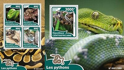 Z08 Imperforated CA16013ab CENTRAL AFRICA 2016 Pythons MNH Set