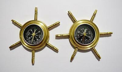 Lot/2 Vintage Solid Brass Nautical Ship Wheel Handheld Compass Paperweight