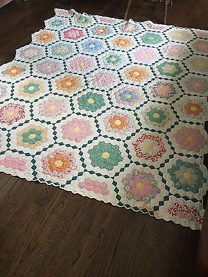 Vintage Quilt, Grandmother's Flower Garden Hand-stitched Quilt Excellent Shape