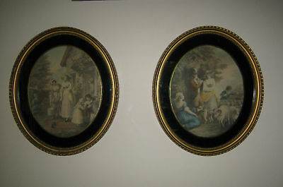 Pair of Antique (19C) Framed French Coloured Engravings!