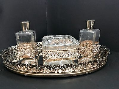 Vintage Ormolu Filigree Gilt Gold Vanity Set;Mirror Tray,Perfume Bottles,Jar Box